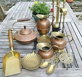 Copper and brass jugs