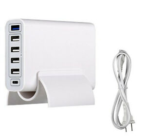 6 Port USB Phone Charger with USB Type C