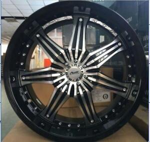 BRAND NEW 20 GLOSS BLACK/MACHINED FACE DUAL 5 BOLT $1090 SET!!