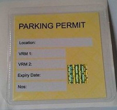 1 x Universal Clear Square Car Parking Permit Holder Wallet Pocket 100mm x 100mm