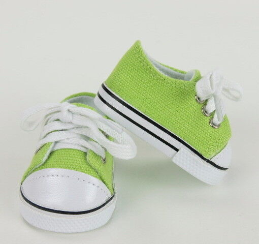 "Lovvbugg Lime Green Sneakers for 18"" American Girl or Boy or Baby Doll Shoes"