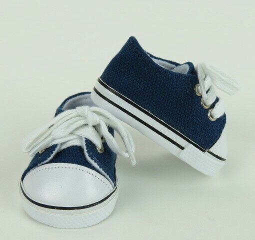 "Lovvbugg Navy Blue Sneakers Tennis for 18"" American Girl or Boy or Bitty Baby Doll Shoes Clothes"