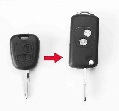 PEUGEOT 106 206 207 307 2 BUTTON FLIP KEY CASE CAR FOB CONVERSION REMOTE BLADE