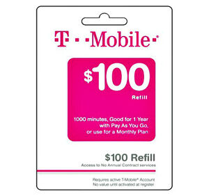 T Mobile 100 Fastest Refill Card Credit Applied Directly