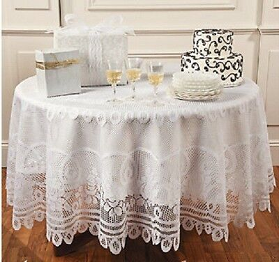 "Elegant Round White Lace Tablecloth Kitchen Linen Dining Table Cloth 84""Dia NEW"