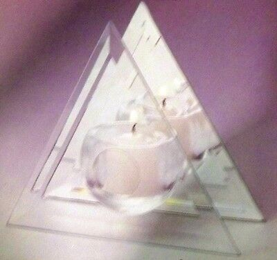 TRIANGLE BEVELED DECORATIVE GLASS & MIRROR CANDLE HOLDER - N