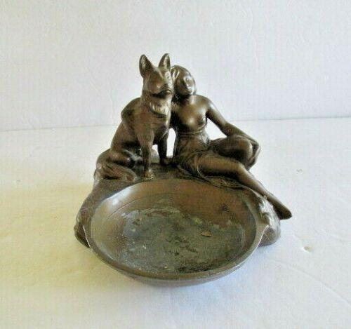 Woman & German Shepard Dog Deco Inspired Antique Ashtray Bronze #429