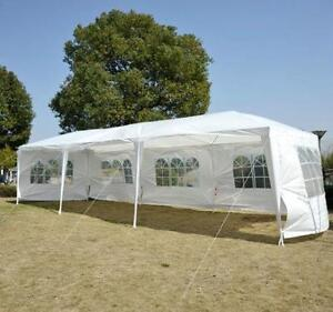 10' x 30' Gazebo Party Tent with 5 Removable Walls - White