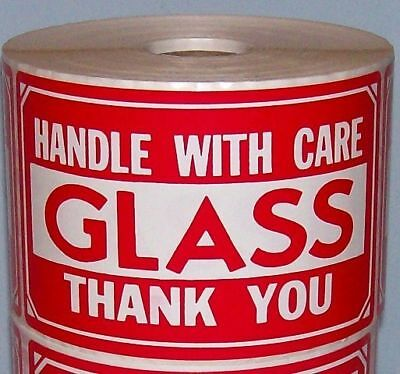 250 2x3 Fragile Glass Handle With Care Label Sticker