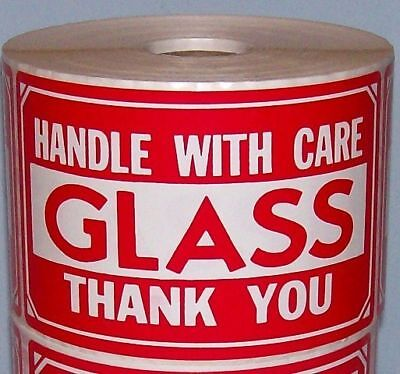 250 2x3 Fragile Glass Handle With Care Label Free Ship