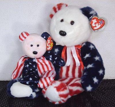 Ty Beanie Babies Buddy Set Spangle Patriotic Baby w Rare Pink Face Teddy Bears