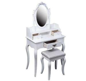 Antique Styled Vanity Dressing Table / Dresser w/ Mirror & Stool / Vanity table / Makeup table for sale