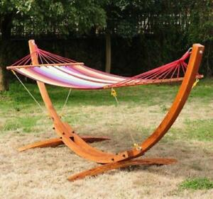 Solid Wooden Arc Hammock Stand w/ Colorful Hammock / Patio