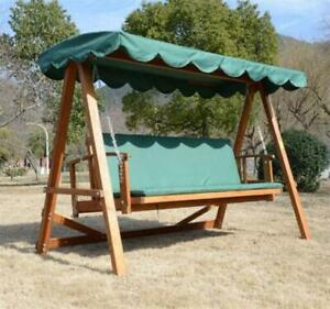 Green Reclining Wooden Patio Swing / Hardwood Patio Swing