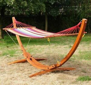 Solid Wooden Arc Hammock Stand w/ Colorful Hammock / Patio hammock for sale