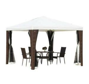 Gazebo 10' x 10' Patio Tent / Outdoor Rattan Wicker Patio Gazebo for Backyard with Removable Mosquito Net Mesh Walls