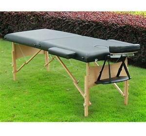 "91"" Portable Massage Table Leather w/ Carry Bag Wood Frame Adjus"