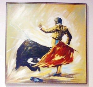 XL 1970s MATADOR Bull Fighting Painting PRINT Antique Vintage