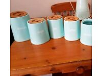 Tea, coffee, sugar, biscuit and utensils ceramic blue kitchen jars containers