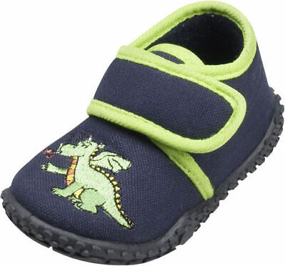 Playshoes Hausschuh Drache Kinderschuh Pantoffel Schuhe marine