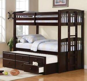 LORD SELKIRK FURNITURE - KINGSTON TWIN / TWIN BUNK BED with CAPTAIN TRUNDLE BED WITH DRAWERS