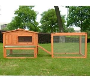 "61"" Outdoor Guinea Pig Pet House / Rabbit Hutch Habitat with Run"