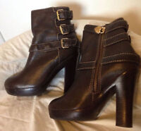 Juicy Couture Brown Pebbled Leather Ankle Boots, Size 9W