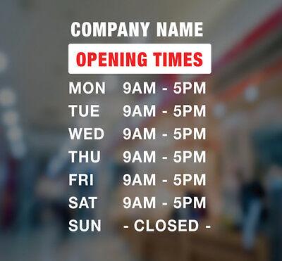 Custom Business Store Hours Sign Vinyl Decal Sticker 18hx12w Window Door Glass