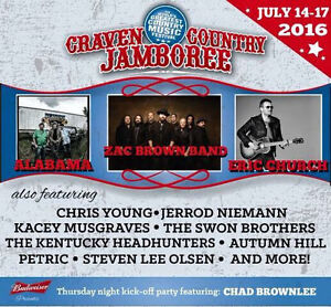 2 weekend passes Craven Country Jamboree July 14-17, 2016