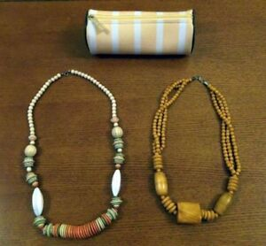 Wooden Beaded Necklaces & Travel Pouch