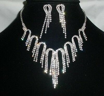 Wedding Bridal Clear Crystal Chandelier Necklace And Earrings Set