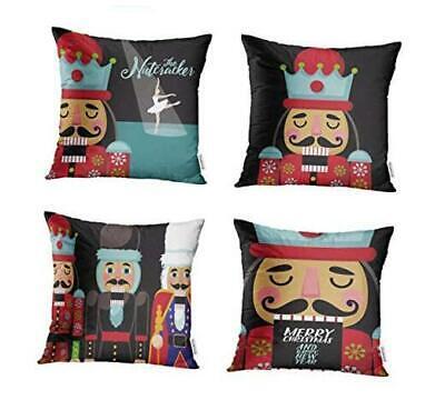 Set of 4 Throw Pillow Covers 18x18 Inch Colorful Christmas Nutcracker Cartoon W