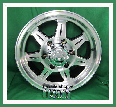 "Aluminum Trailer Rim 15X6"" AWC 7 Spoke Wheel 6 on 5.5 With Black Accent"