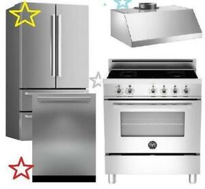 "Bertazzoni Pro Kitchen appliance Package deals: Bertazzoni REF36X 36"" French Door Refrigerator PRO304INMXE 30"" Induction"