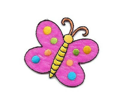 Butterfly - Insect - Pink - Polka Dots - Embroidered Iron On Applique Patch - (Dots Butterfly Appliques)