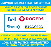 Unlimited Internet $45,Home Phone $10, TV $25 - No Contract