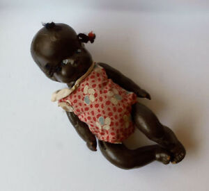 Antique Composite Doll Black American Baby Girl