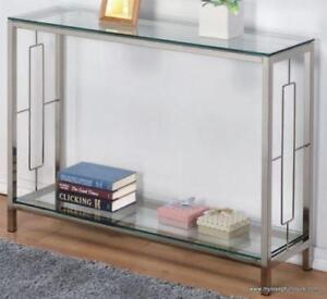 ATHENA GLASS CONSOLE TABLE WITH SHELF WITH CHROME FRAME-BRANDNEW