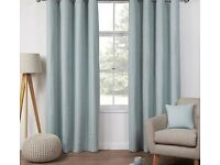 """Brand new pair of duck egg basket weave lined curtains width 66"""" drop 54"""" (167 x 137 cm )"""