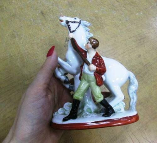 Germany 1950s Vintage Figurine Porcelain Rare Statue of Horse Taming Handmade