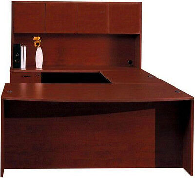 New Amber Bowfront U-shape Executive Office Desk With Hutch 1 Pedestal