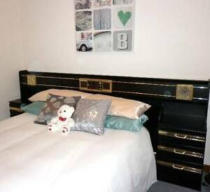 Vintage Black Queen size bed head, tall boy and corner drawers Adelaide CBD Adelaide City Preview