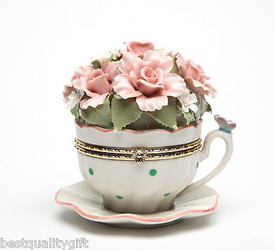 """COLLECTIBLE PORCELAIN FLOWER CUP HINGE BOX """"EVERYTHING IS BEAUTIFUL"""" MUSIC BOX"""