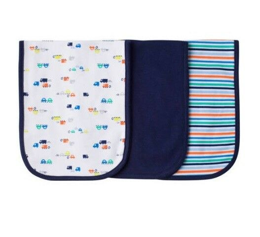 Gerber Baby Boy 3-Pk Terry Lined Transportation Burp Cloths