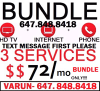 UNLIMITED INTERNET + HD CABLE TV 140 CHANNELS + PHONE $72 WOW