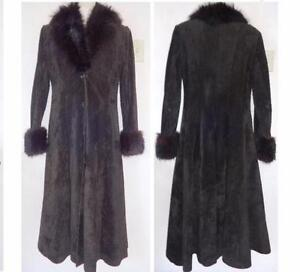 VINTAGE BLACK LEATHER SUEDE & REAL FUR LONG WINTER COAT WOMENS M