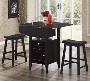 Drop Leaf Pub Table - 3 piece set in Espresso