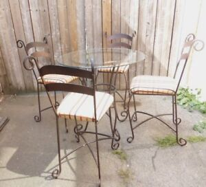 Metal Table with Glass Top BISTRO Table PUB Table Dinning Table