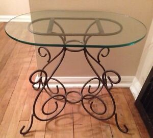 Small Glass Top Table With Iron Stand For Living Room