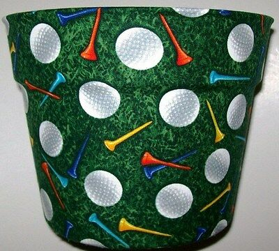 GOLF BALLS TEES THEMED PLANTER FLOWERPOT GIFT WRAP BASKET PARTY SUPPLY CONTAINER (Golf Themed Party Supplies)